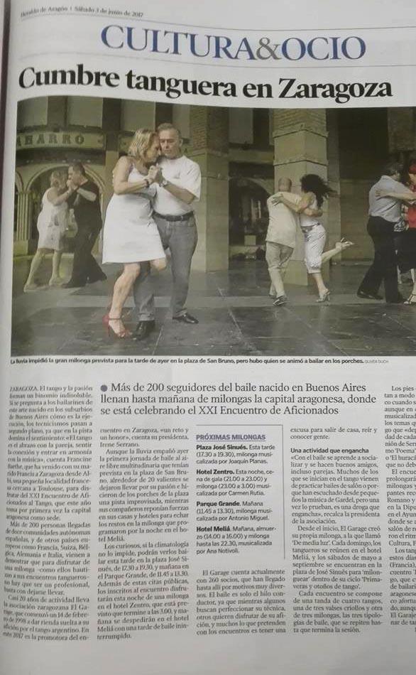 XIX Encuentro Tango Zaragoza articulo Heraldo Aragon